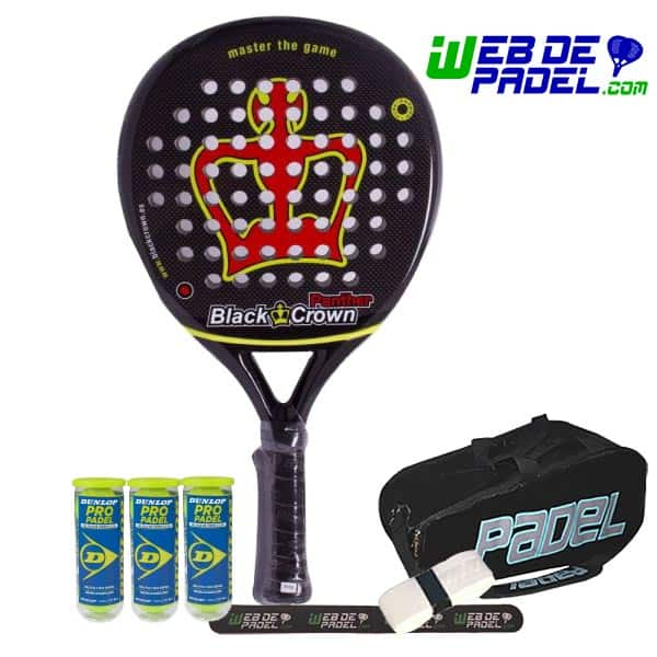 Pala de padel Black Crown Panther con paletero